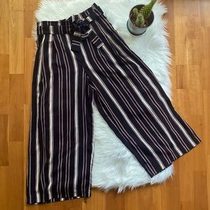 ZARA Navy Red Striped Tie Front Culottes Pants